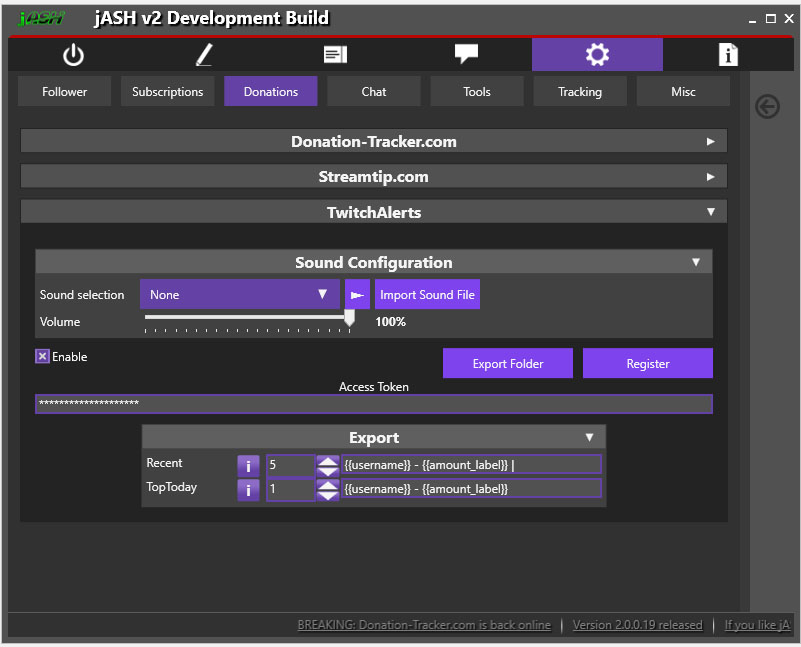 jASH v2 - TwitchAlerts Settings